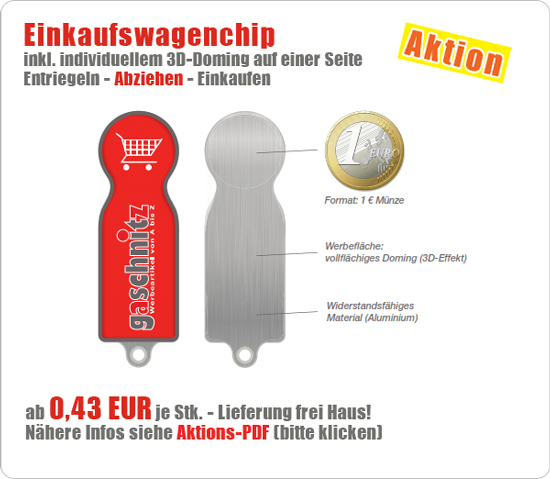 Aktion - Einkaufswagenchip Doming
