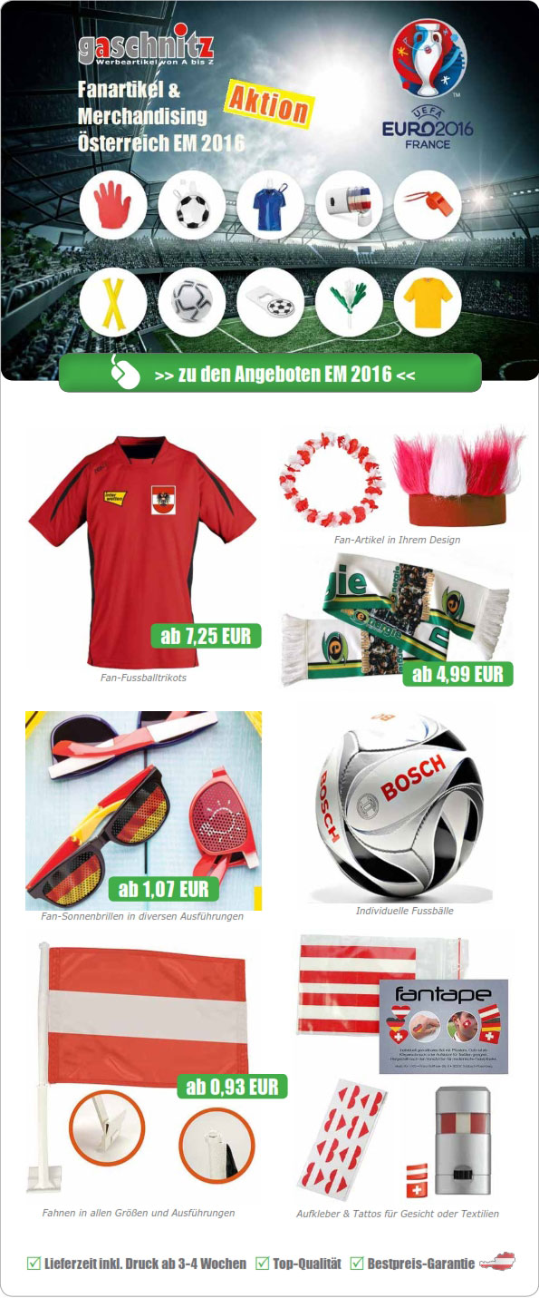 Sonderaktion: EURO 2016 Fan-Artikel & Merchandising